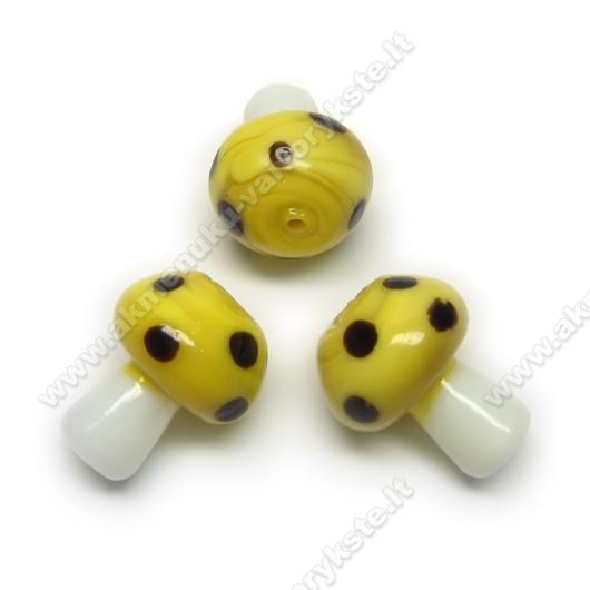 Geltonas stiklinis grybukas 18x15 mm