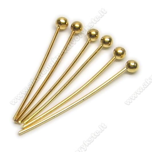 Aukso spalvos vinukai 20 mm apskritomis galvutėmis