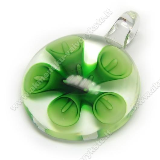 """Lampwork stiklo pakabutis """"Žalioji Kalija"""" 42x30 mm"""