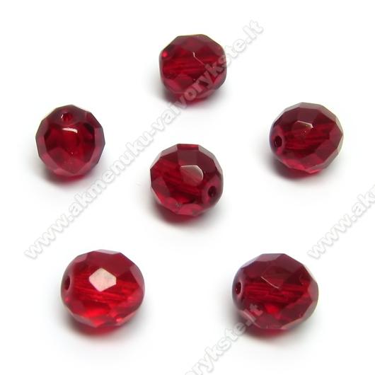 Facetuotas stiklas raudonas 10 mm