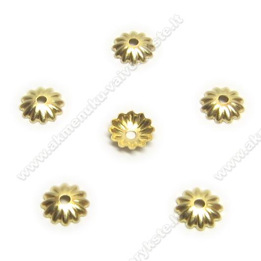 Aukso spalvos smulkios kepurėlės 6 mm