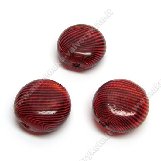 Pūstas stiklas raudonas juodomis juostelėmis plokščio ovalo formos 18x7 mm