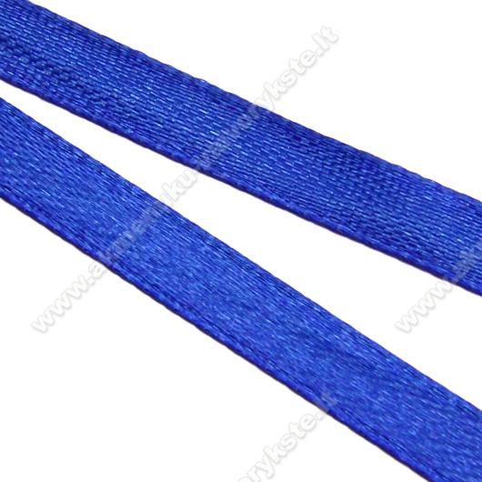 Atlasinė juostelė mėlyna 6 mm pločio
