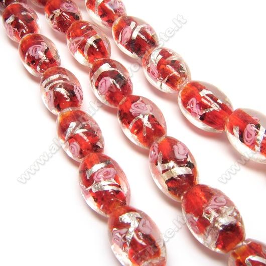 Lampwork karoliukas su sidabro folija ir gėlyte raudonos spalvos 16x10 mm