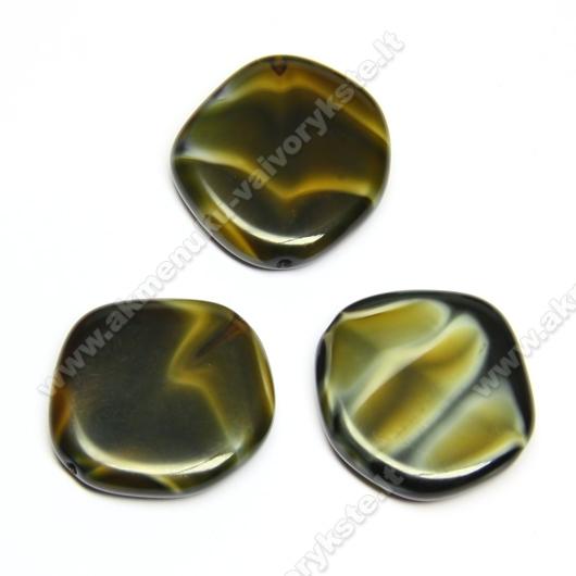 Stiklas tamsios karamelės spalvos netaisyklingo disko formos 20 mm