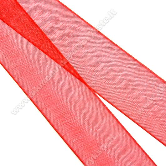 Organzos juostelė raudona 25 mm pločio