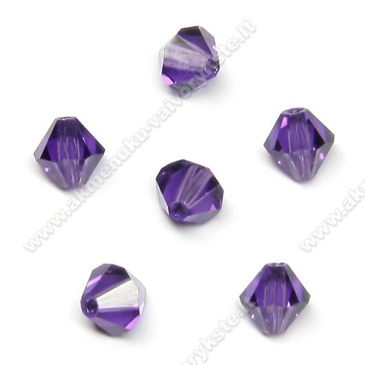 Čekiškas stiklas violetinis dvipusio konuso formos 5 mm