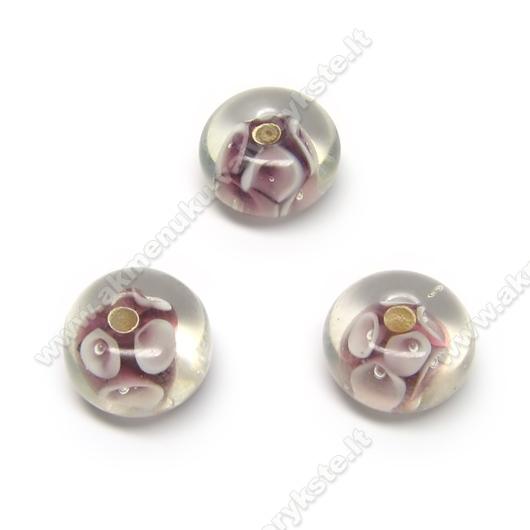 Alyvinės lampwork stiklo rondelės su gėlytėmis 13x8 mm