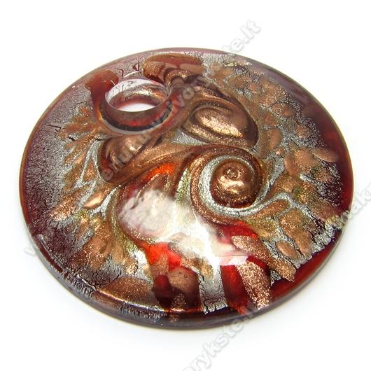 Rankų darbo disko formos lampwork stiklo pakabutis su aukso ir sidabro dulkėmis, raudonos spalvos 50 mm