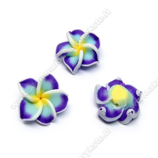 Rankų darbo polimerinio molio žydrai violetinė gėlytė 19 mm