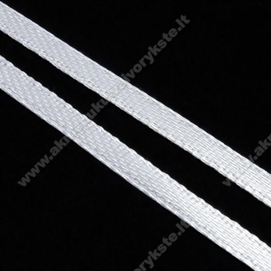 Atlasinė juostelė balta 3 mm