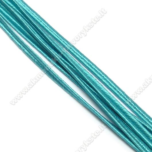 Žydro turkio spalvos sutažo juostelė 3 mm