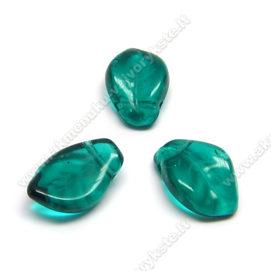 Persiškos žalios spalvos stiklinis lapelis 9x14 mm