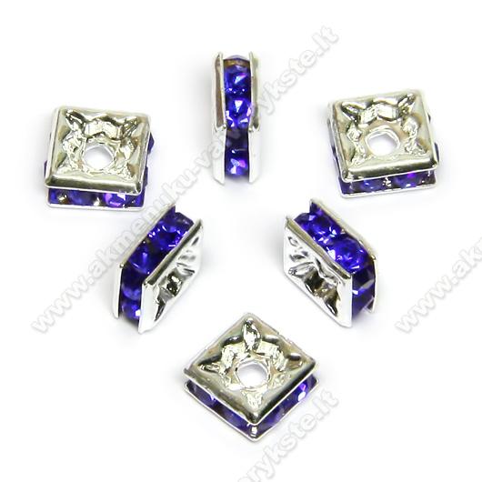 Intarpai kvadratiniai su mėlynomis akutėmis 6 mm