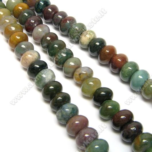 Įvairių akmenėlių (II) 5x8 mm rondelių juosta 20 cm
