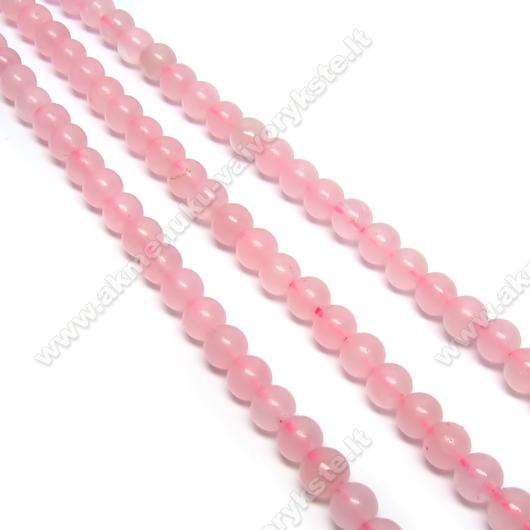 Rožinio kvarco 4 mm karoliukų juosta 39 cm