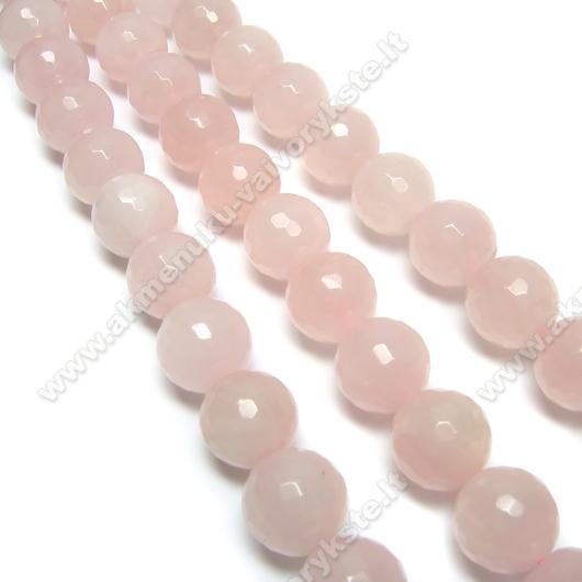 Natūralaus rožinio kvarco akmens facetuotas karoliukas 10 mm