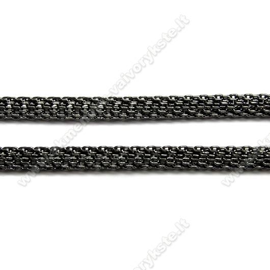 Juodos spalvos grandinėlė su užsegimu 44 cm