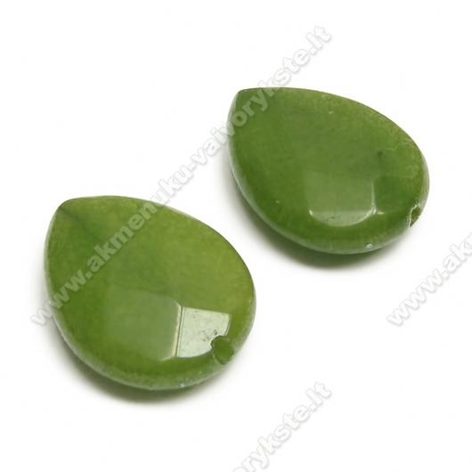 Natūralaus žadeito facetuotas žalios spalvos lašas