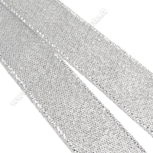 Blizgi sidabro spalvos juostelė 15 mm