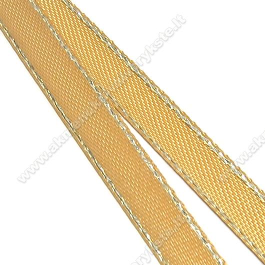 Rusva atlasinė juostelė su ausko siūlų krašteliu 6 mm pločio