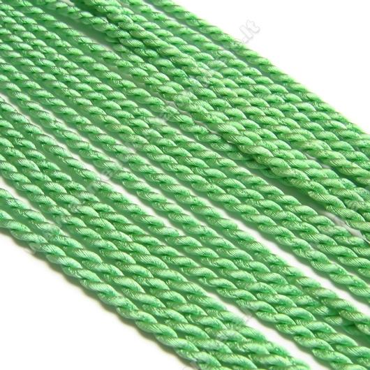 Šilkinė sukta virvelė žalios spalvos