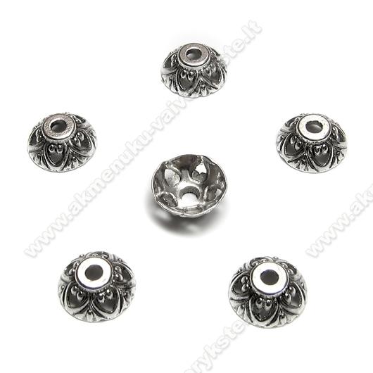 Tibeto sidabro kepurėlės su širdelėmis 10 mm