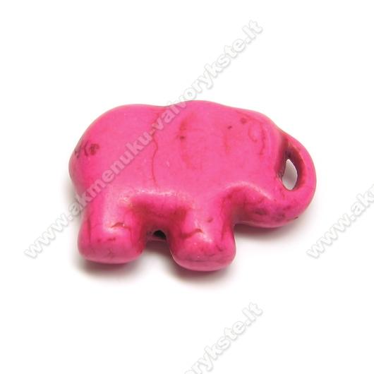 Dirbtinio turkio pakabukas-drambliukas ciklameno spalvos