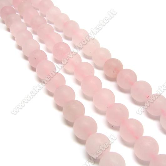 Natūralus matinės dangos rožinis kvarcas 10 mm