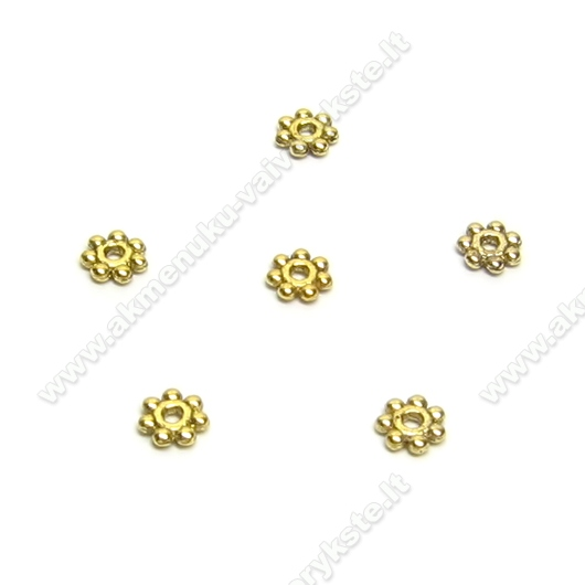 Sendinto aukso spalvos intarpas gėlytė (10 vnt.)
