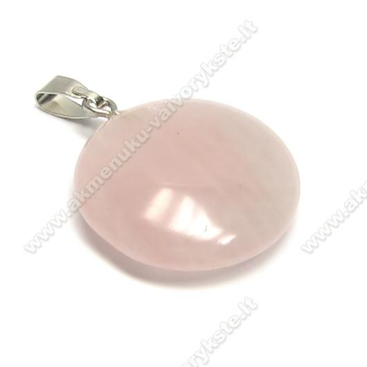 Rožinio kvarco akmens apvalus pakabutis