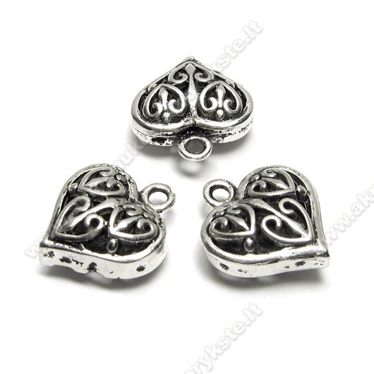Tibeto sidabro pakabutis-ažūrinė širdelė