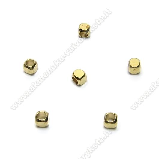 Tibeto sidabro intarpai kubelio formos 3 mm aukso spalvos