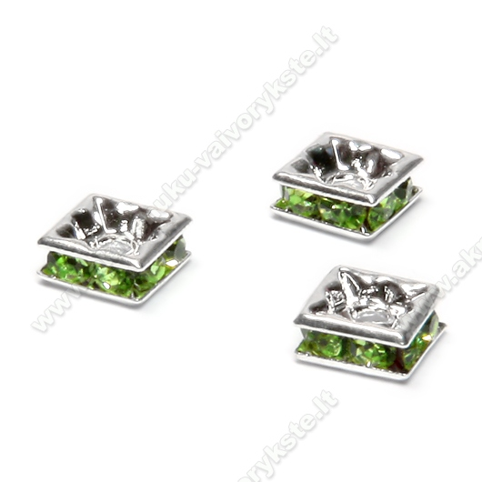Intarpai kvadratiniai su šviesiai žaliomis akutėmis 6 mm
