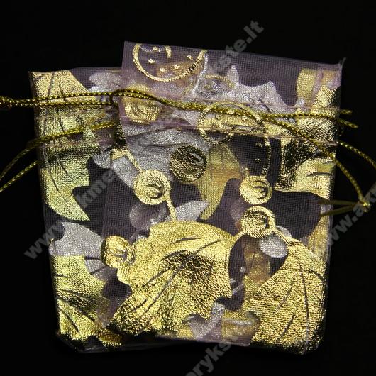 Organzos maišelis alyvinis su auksinų lapelių ornamentais 5,5x7,5 cm