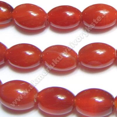 Agatas raudonas ovalo formos 12 mm
