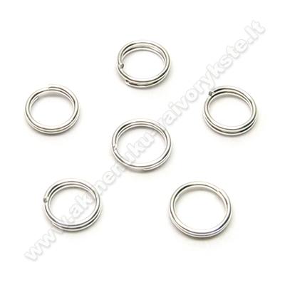 Žiedeliai dvigubi sidabro spalvos 6 mm - 10 vnt.