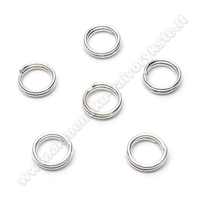 Žiedeliai dvigubi sidabro spalvos 5 mm - 10 vnt.