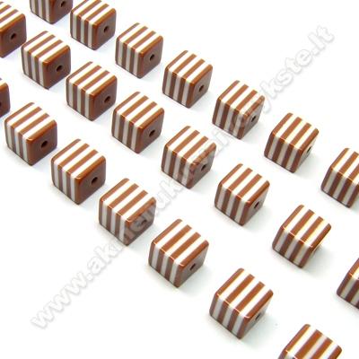 Rudi dryžuoti plastinės masės kubeliai 8 mm
