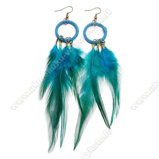 Persiškos žalios spalvos plunksnų auskarai