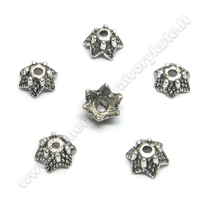 Tibeto sidabro kepurėlės žvaigždelės formos 6 mm