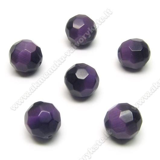 Katės akis tamsiai violetinė facetuota 12 mm