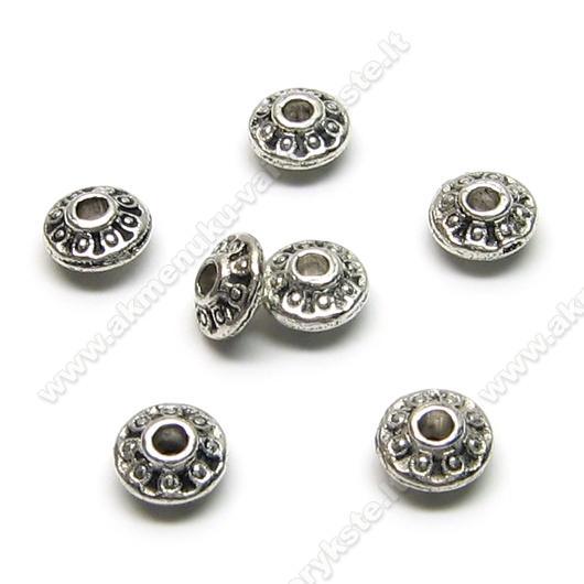 Tibeto sidabro intarpas diskelio formos 6,5 mm