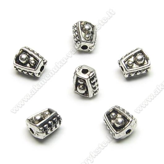 Tibeto sidabro intarpas kūgio formos 6 mm