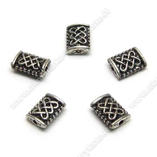 Tibeto sidabro intarpai stačiakampės pagalvėlės formos 8 mm