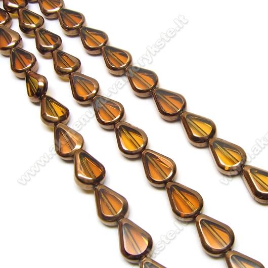 Stiklo karoliukai gintaro spalvos lašelio formos padengti raudonuoju variu 11 mm