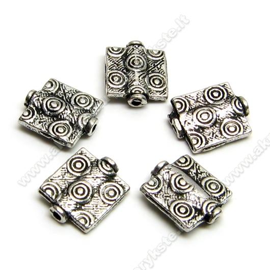 Tibeto sidabro intarpai kvadratiniai 10 mm