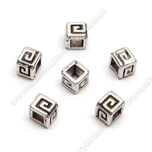 Tibeto sidabro intarpai kubelio formos 4 mm