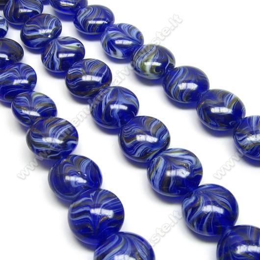 Lampwork stiklas mėlynas plokščio ovalo formos 16 mm