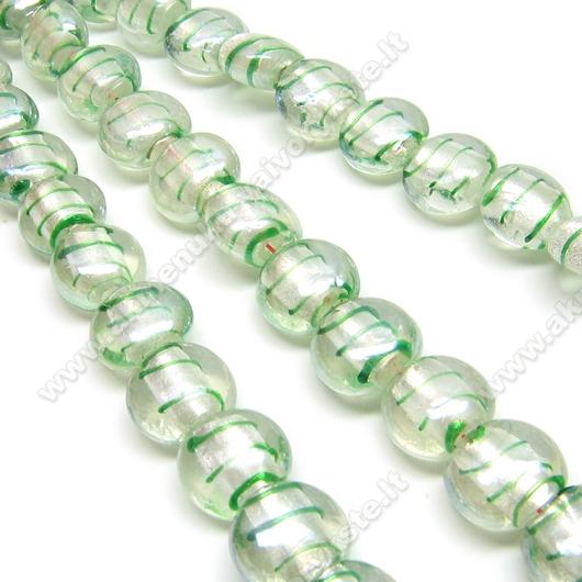 Lampwork stikas skaidrus su žaliomis juostelėmis diskelio formos 13 mm